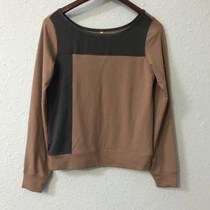 Lole long sleeve tan and black color block shirt